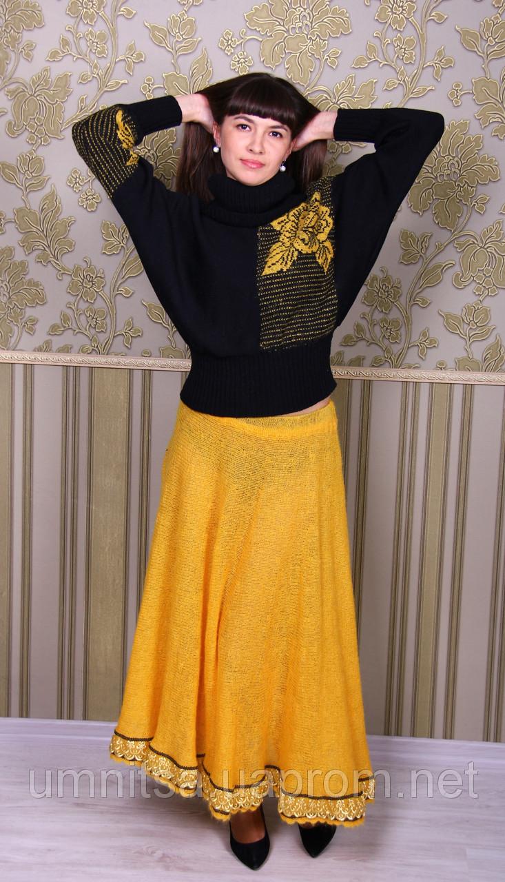 Вязаные желтые юбки