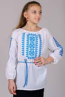 Вышиванка для девочки Орнамент (голубой)