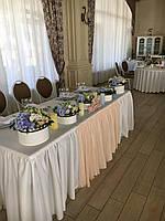 Оформление стола молодоженов в молочном цвете