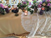 Оформление стола молодоженов с кружевом