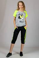 Трикотажная футболка с рукавом реглан (Mause-лимонный)