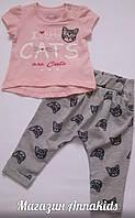 "Костюм на девочку ""CATS"" футболка+капри  BREEZE,  74-98 см."