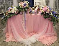 Оформление стола молодоженов в розовом цвете