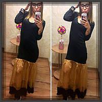 Коктейльное платье из дайвинга с золотистой органзой