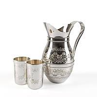 Серебряный кувшин Вышиванка с двумя стаканами