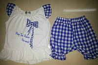 Летний костюм с шортами для девочки на 1 и 2 года