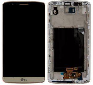Дисплей с тачскрином LG D855 G3 золотистый в рамке (HQ)