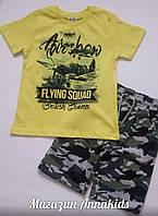 "Костюм на мальчика ""Милитари"" футболка+шорты, BREEZE, 110-140 см."