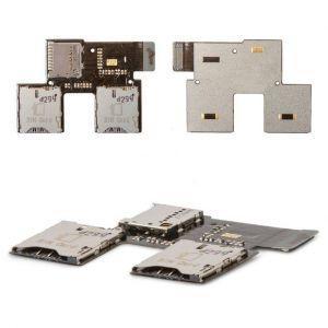 Коннектор SIM-карты и карты памяти для HTC T326e Desire SV, на шлейфе, на две SIM-карты