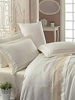 Турецкое постельное бельё с вышивкой Cotton Box LACE EKRU CB07