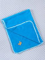 Плед покривало в ліжечко, синє, велсофт, фото 1