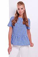 Женская коттоновая блузка в клетку с баской синего цвета