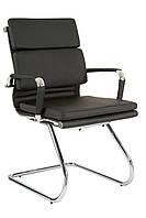 Кресло для конференций на полозьях кожанное Solano 3 conference черное
