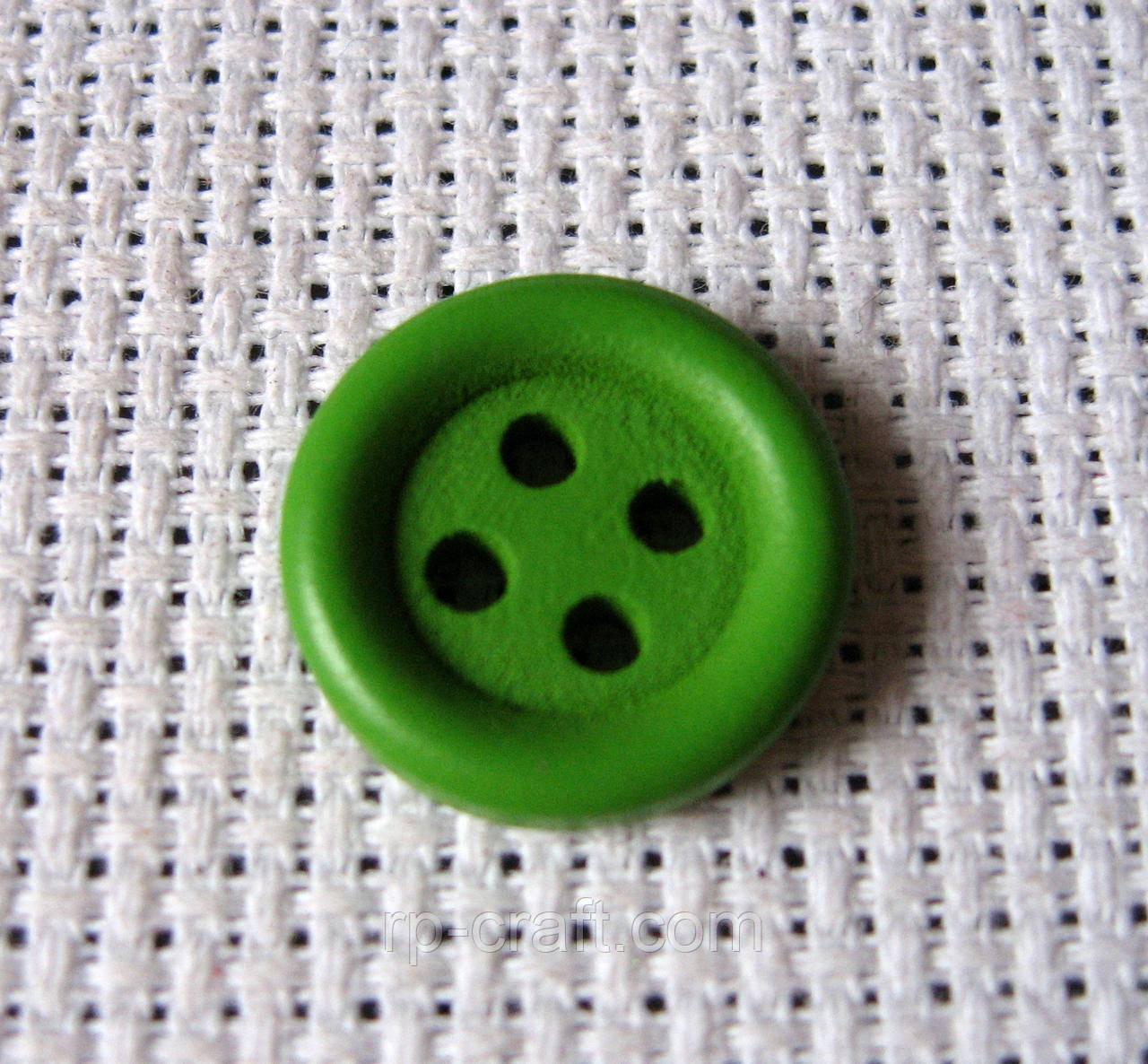 Пуговица деревянная, декоративная.  Зеленая, 15 мм