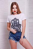 Женская молодёжная белая футболка с принтом Хамса