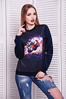 Молодежный женский свитшот темно-синего цвета с принтом Cross кофта №2 (весна) д/р