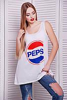 Белая длинная женская майка с логотипом Пепси