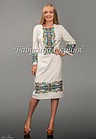 Заготівля голови чортківської жіночої сукні для вишивки нитками/бісером БС-49-1с бежево-сірий, домоткане полотно