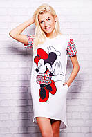 Стильная длинная женская белая футболка с разрезом сзади Рисунок Минни Маус