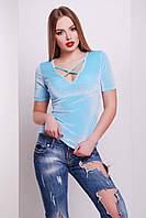 Стильная женская велюровая кофта с коротким рукавом Голубая