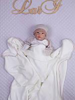 Плед покрывало в кроватку, кремовый, велсофт, фото 1
