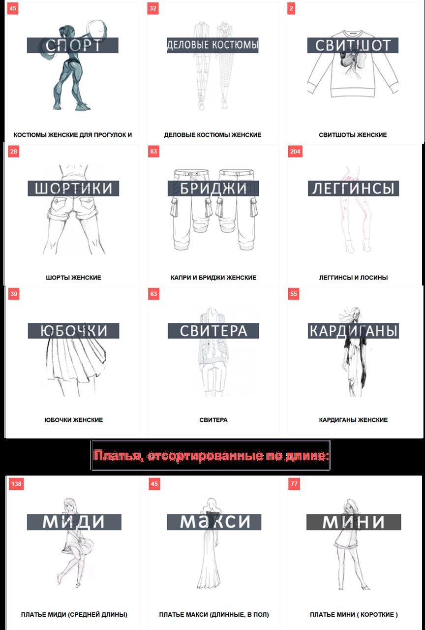 Переход  в список категория женской одежды
