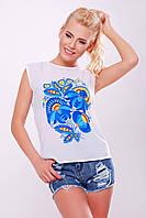 Женская летняя майка-футболка белая с рисунком Петриковская роспись1