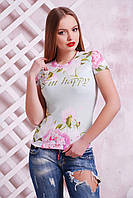 Яркая женская футболка с принтом Пионы