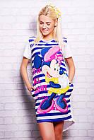Стильная длинная женская белая футболка с разрезом сзади Полоска Minnie