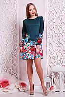 Короткое свободное платье зеленое Фиалки сукня Тана-1КД (креп) д/р