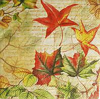 Салфетка для декупажа Кленовые листья  25*25 см, 1 шт