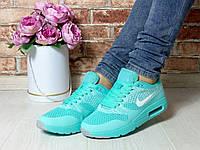 Кроссовки Nike, легкие, в сетку, цвет- Бирюза, материал- фабричный текстиль,