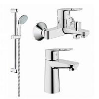 Grohe BauLoop 123214/1 Смесители для умывальника, ванны, стойка (23337000+32815000+27598000)