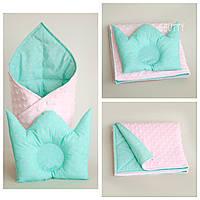 Набор конверт и подушка для новорожденного, одеяло, плед