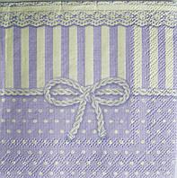 Салфетка для декупажа Сиреневый бантик 25*25 см, 1 шт