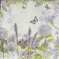 Салфетка для декупажа Сиреневые цветочки 25*25 см, 1 шт