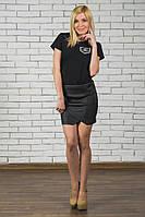 Женская юбка с стеганной кожи