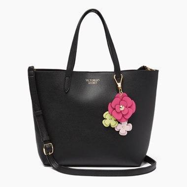 Cумка Victoria's Secret чёрная с цветочками