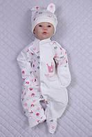"""Комбинезон """"Princess"""" + колпачок, молочный розовые короны"""