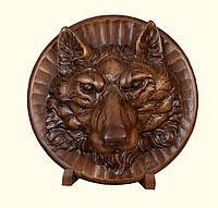 Настенная декоративная резная тарелка Волк из дерева ореха