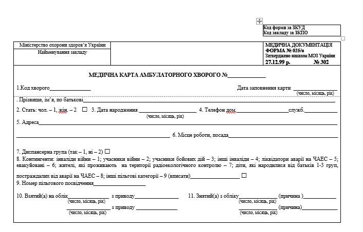 Медична карта амбулаторного хворого 025/о (32 стор., газетка)