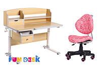 Стол-трансформер для школы FunDesk Sognare Grey + детское кресло SST5 Pink