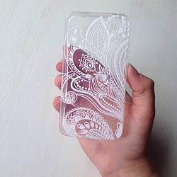 Дизайнерский силиконовый чехол с белым узором для iPhone 4/4s