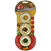 Колечки 8 in1 Delights Rings для собак жевательные, с мясом, 3 шт