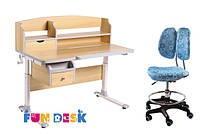 Детский стол-трансформер FunDesk Sognare Grey + детское кресло SST6 Blue