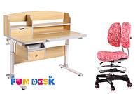Детский стол-трансформер FunDesk Sognare Grey + детское кресло SST6 Pink