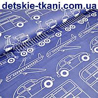 """Ткань хлопковая синего цвета  """"Все виды транспорта"""" (№ 722а)"""