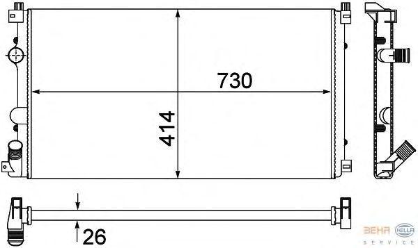 Радиатор охлаждения Renault Master 2 2001- (1.9-2.5CDI механика AC+) 730*390мм по сотах KEMP