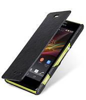 Кожаный чехол книжка Melkco для Sony Xperia M C1905 C2005 черный, фото 1
