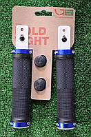 Грипсы Green Cycle GC-G201 черные с двумя синими замками